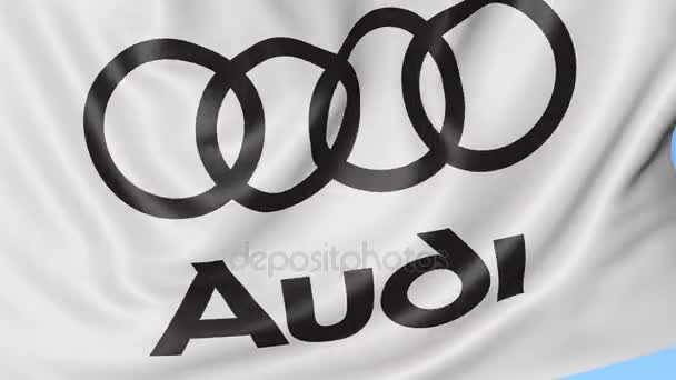 Detail mávat vlajkou s logem Audi, bezešvé smyčka, modré pozadí, redakční animace. 4k Prores