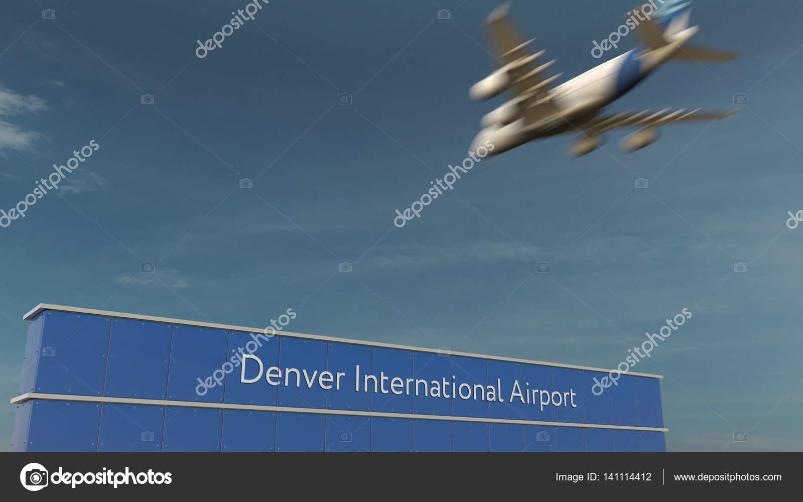 Commercial Airplane Landing At Denver International Airport 3D Rendering Stock Photo