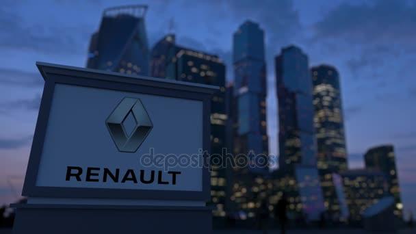Pouliční nápisy deska s logem Groupe Renault ve večerních hodinách. Obchodní čtvrť mrakodrapů pozadí rozmazané. Redakční 3d vykreslování 4k