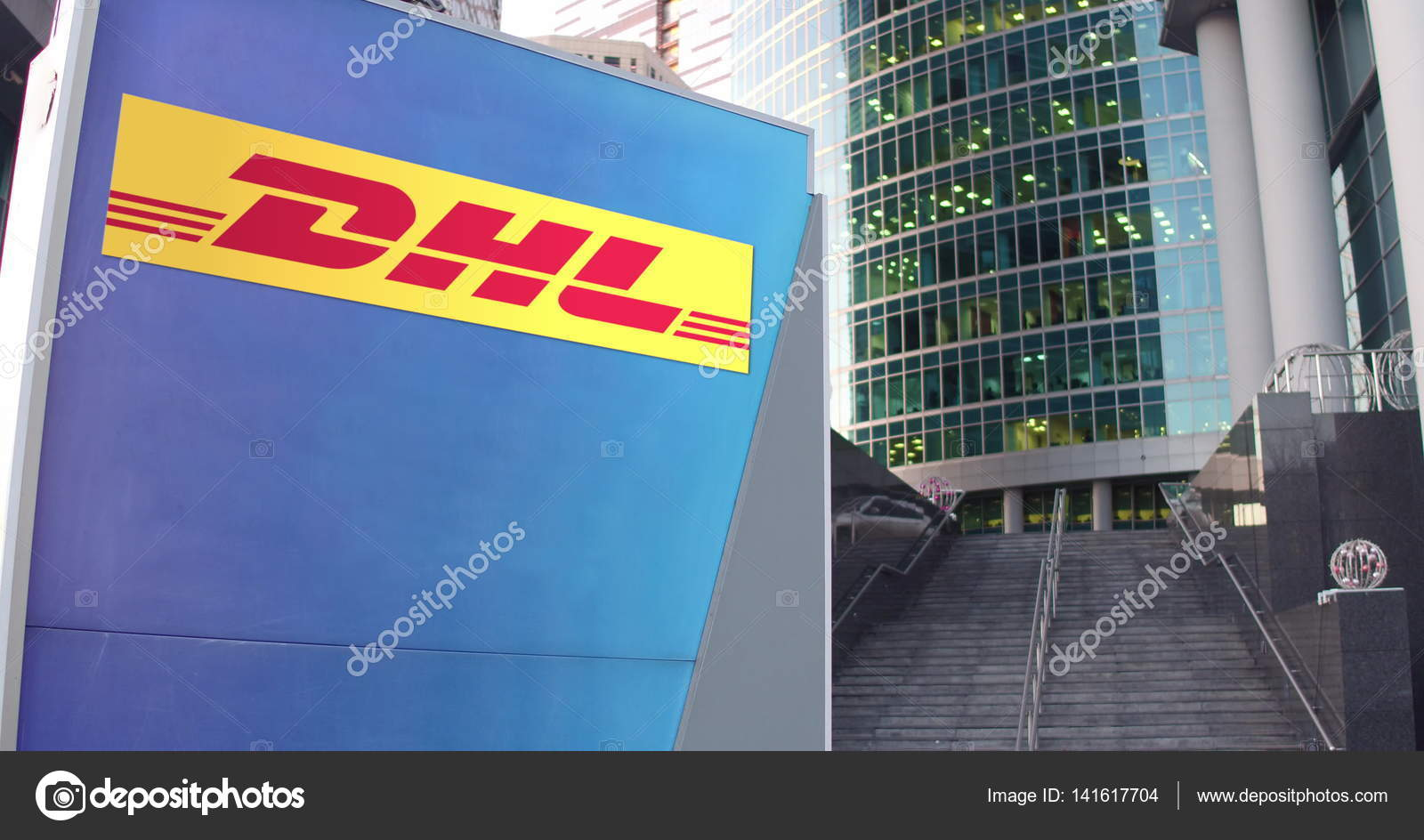 street signage board with dhl express logo modern office center skyscraper and stairs. Black Bedroom Furniture Sets. Home Design Ideas