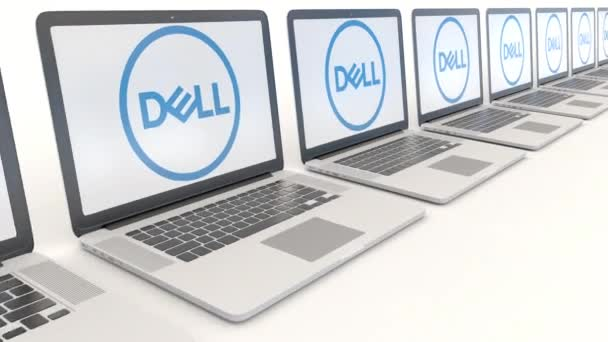 Modern laptops with Dell Inc. logo. Computer technology conceptual editorial 4K clip, seamless loop