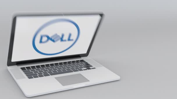 Opening and closing laptop with Dell Inc. logo on the screen. Computer technology conceptual editorial 4K clip