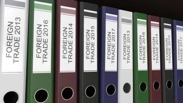Linie vícebarevná úřadu pořadačů s zahraničního obchodu značky, různé roky. 4 k bezešvé smyčka klip