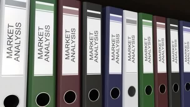 Linie vícebarevná úřadu pořadačů s Tagy Analýza trhu, různé roky. 4 k bezešvé smyčka klip