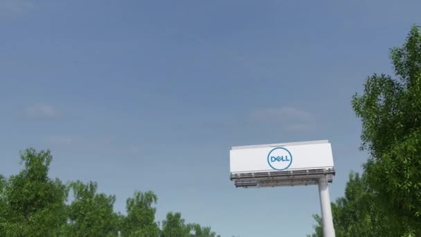 Driving towards advertising billboard with Dell Inc. logo. Editorial 3D rendering 4K clip