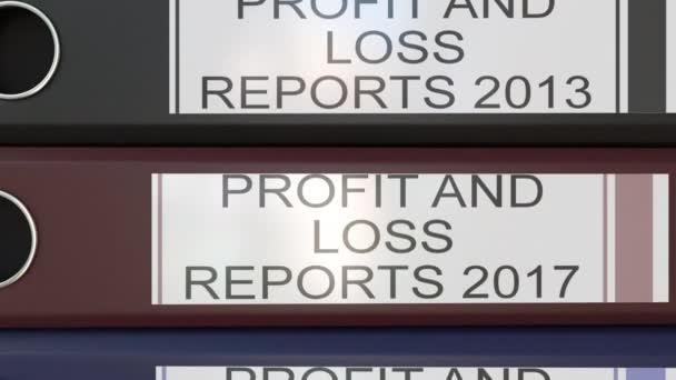 Vertikální zásobník vícebarevná úřadu pořadačů s zisků a ztrát zprávy značky různé roky