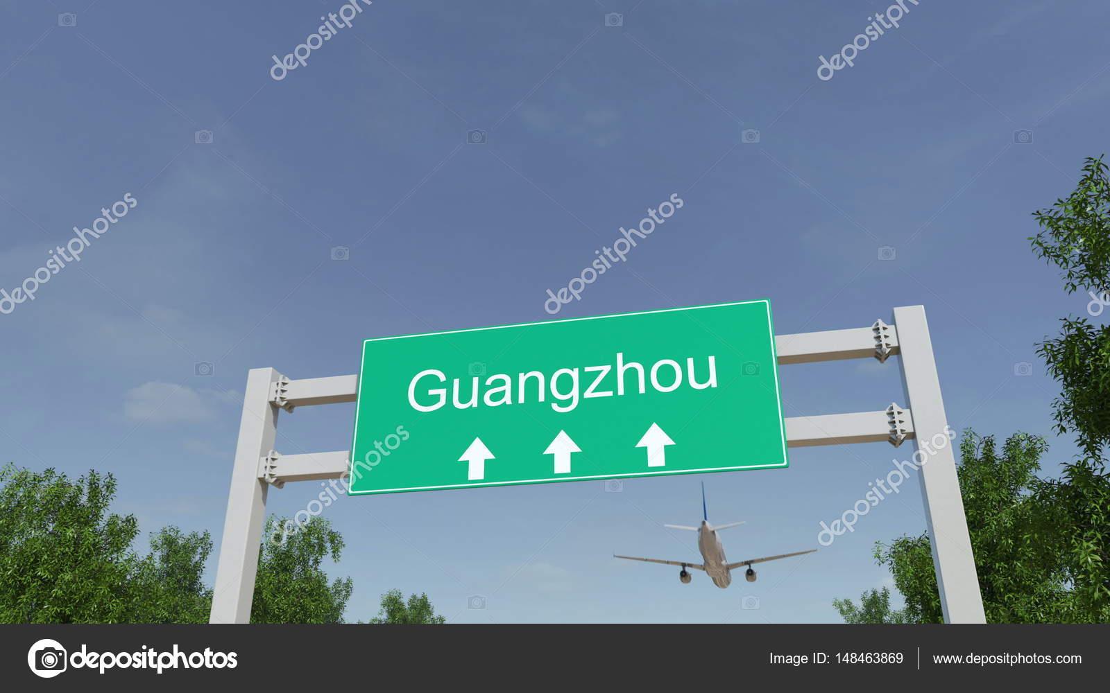 Aeroporto Guangzhou Arrive : Avião chega ao aeroporto de guangzhou. viajar para a china