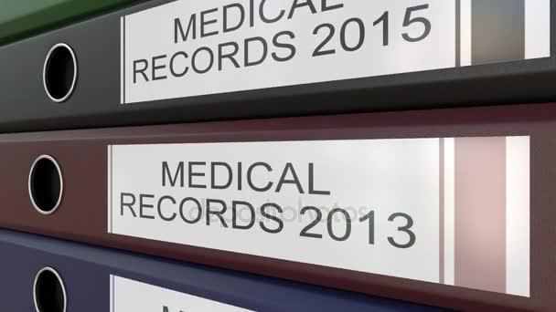 Úřad pořadače s lékařské záznamy značky různé roky