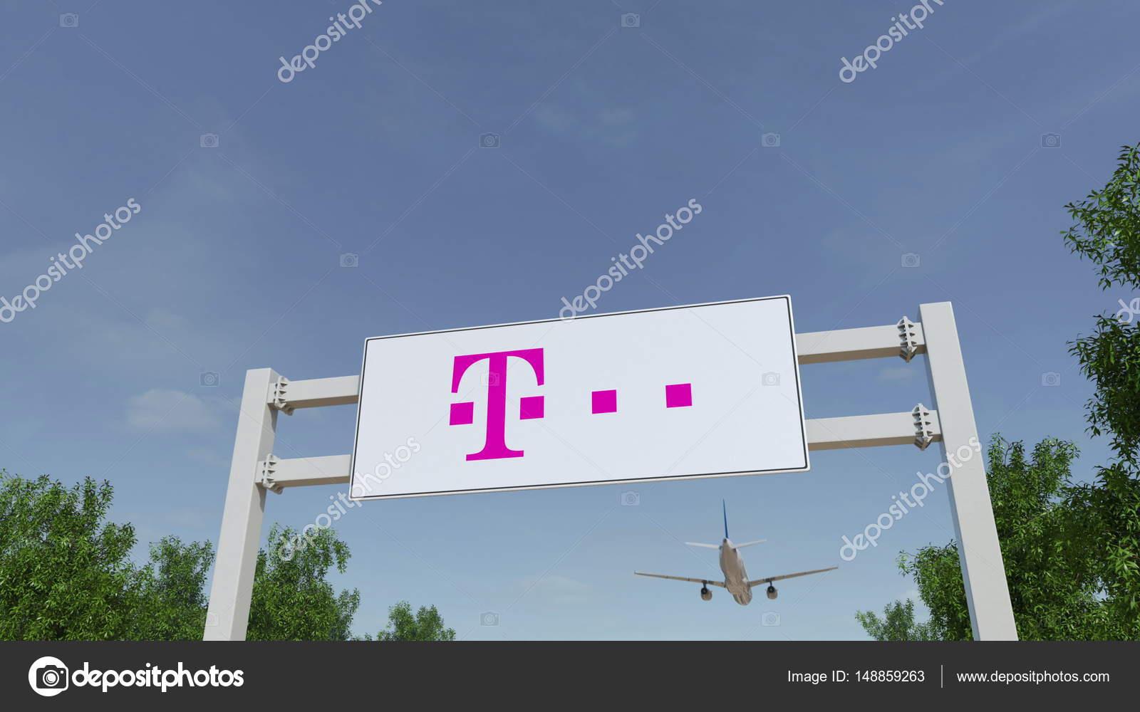 Flugzeug Fliegen über Werbung Plakatwand Mit T Mobile Logo