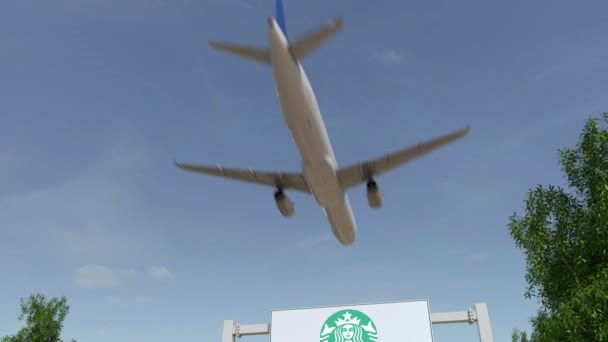 Airplane Flying Over Advertising Billboard With Starbucks Logo Editorial 3d Rendering 4k Clip