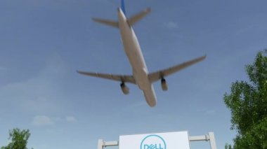 Airplane flying over advertising billboard with Dell Inc. logo. Editorial 3D rendering 4K clip