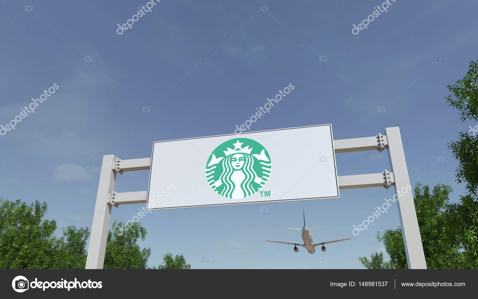 Airplane Flying Over Advertising Billboard With Starbucks