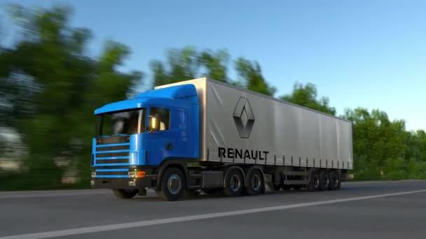 Nákladní semi auto s logem Groupe Renault jízdu po lesní cestě, bezešvé smyčka. Redakční 4k klip