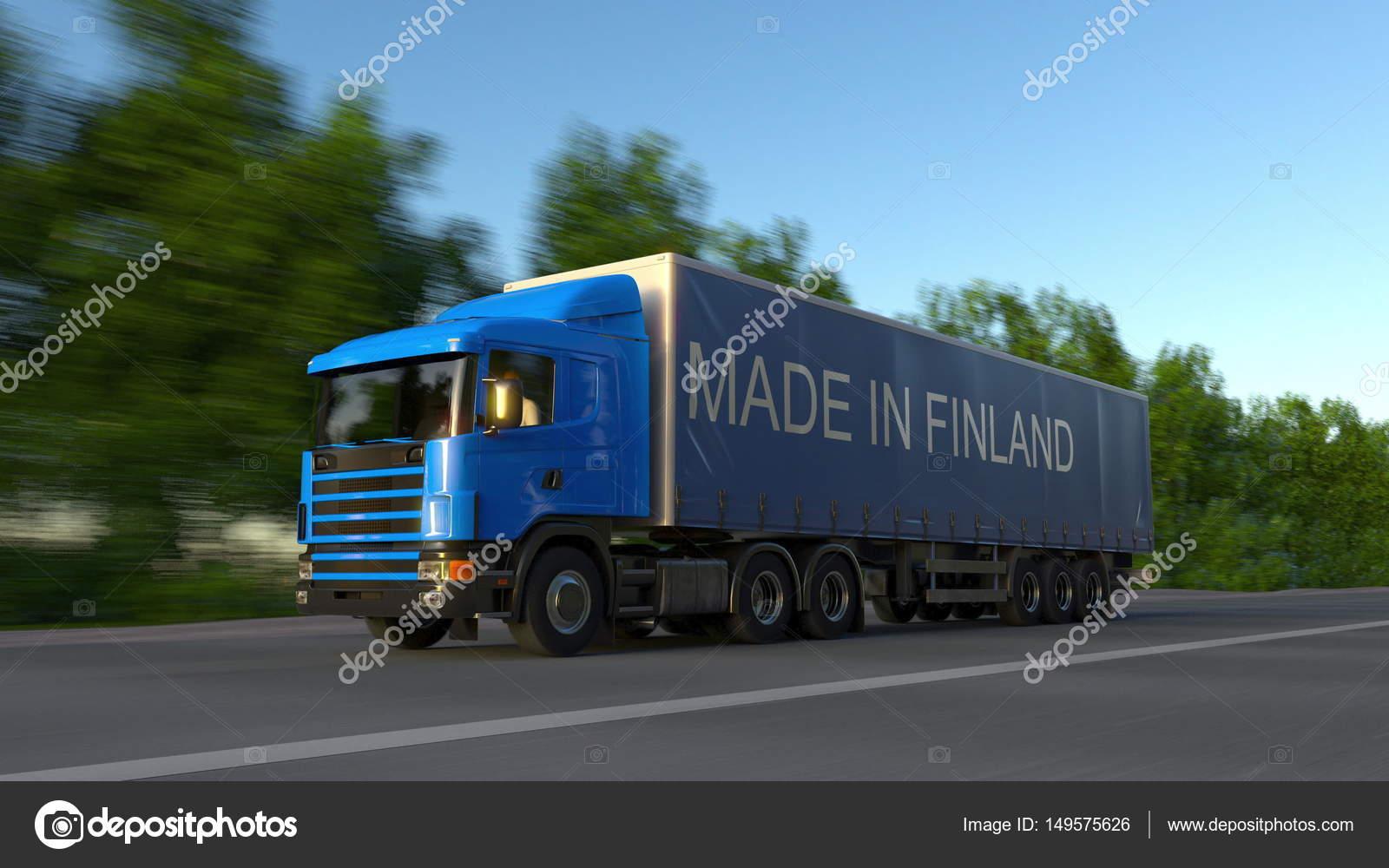 exc s de vitesse camion semi de fret avec l gende faite en finlande sur la remorque transport. Black Bedroom Furniture Sets. Home Design Ideas