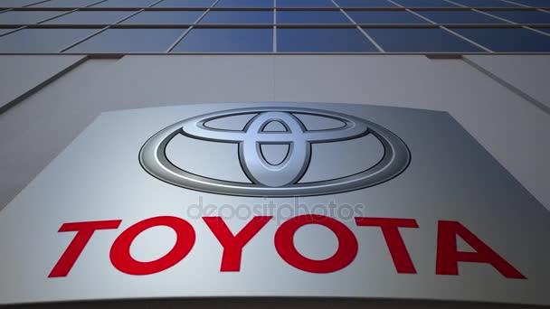 Venkovní značení deska s logem Toyota. Moderní kancelářská budova. Úvodník 3d vykreslování