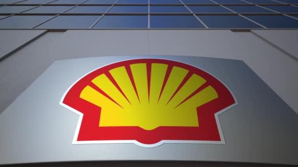 Venkovní značení deska s logem Shell ropné společnosti. Moderní kancelářská budova. Úvodník 3d vykreslování