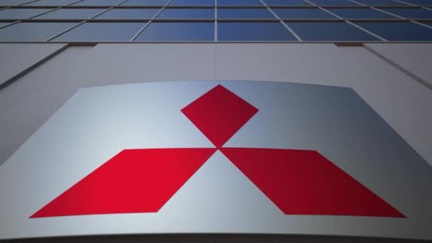 Venkovní značení deska s logem Mitsubishi. Moderní kancelářská budova. Úvodník 3d vykreslování