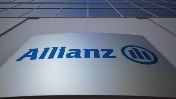Venkovní značení deska s logem Allianz. Moderní kancelářská budova. Úvodník 3d vykreslování