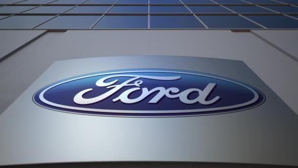 Venkovní značení desky s logem Ford Motor Company. Moderní kancelářská budova. Úvodník 3d vykreslování