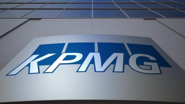 Venkovní značení deska s logem společnosti Kpmg. Moderní kancelářská budova. Úvodník 3d vykreslování
