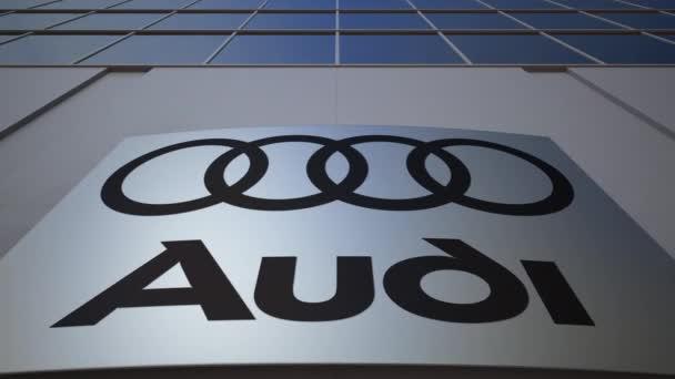Venkovní značení deska s logem Audi. Moderní kancelářská budova. Úvodník 3d vykreslování