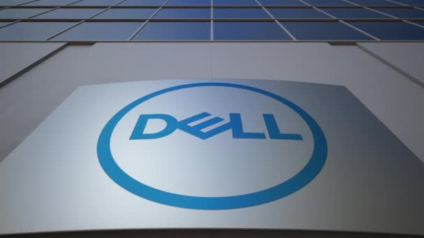 Outdoor signage board with Dell Inc. logo. Modern office building. Editorial 3D rendering