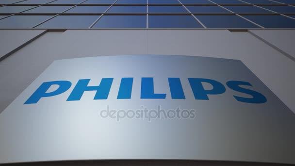 Venkovní značení deska s logem Philips. Moderní kancelářská budova. Úvodník 3d vykreslování