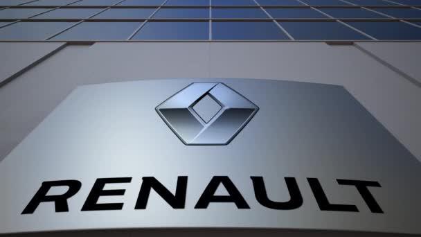 Venkovní značení deska s logem Groupe Renault. Moderní kancelářská budova. Úvodník 3d vykreslování