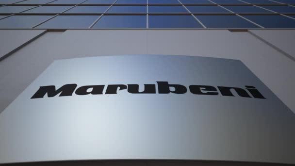 Venkovní značení deska s logem Marubeni Corporation. Moderní kancelářská budova. Úvodník 3d vykreslování