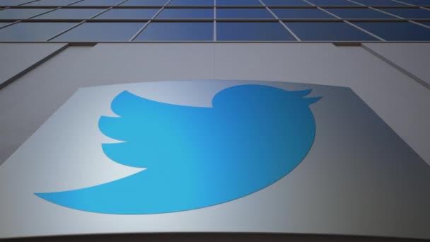 Venkovní značení deska s logem Twitter, Inc.. Moderní kancelářská budova. Úvodník 3d vykreslování