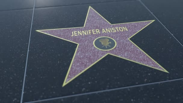 Hollywood Walk of Fame star with JENNIFER ANISTON inscription. Editorial 4K clip