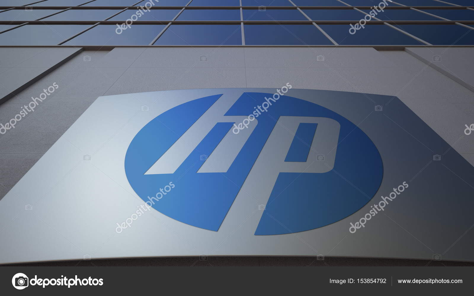 Outdoor Signage Board With Hp Inc Logo Modern Office Building