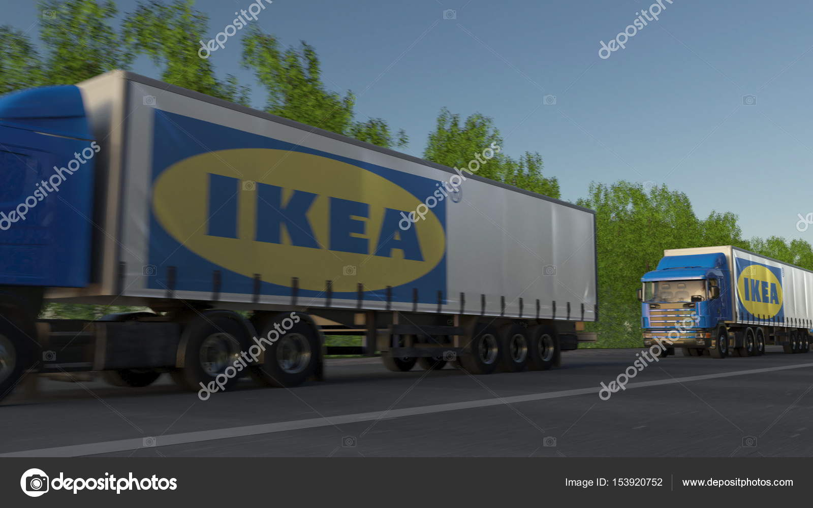 semi camion di trasporto con logo ikea guidando lungo la strada forestale editoriale rendering. Black Bedroom Furniture Sets. Home Design Ideas