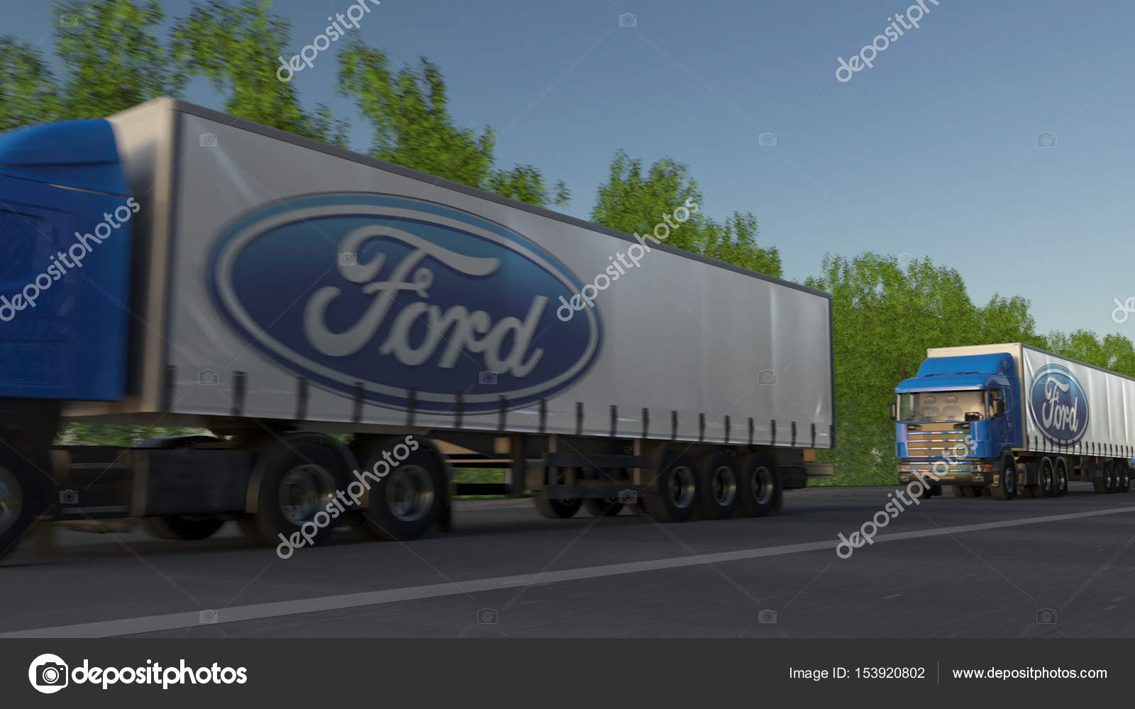 Freight semi trucks with Ford Motor Company logo driving
