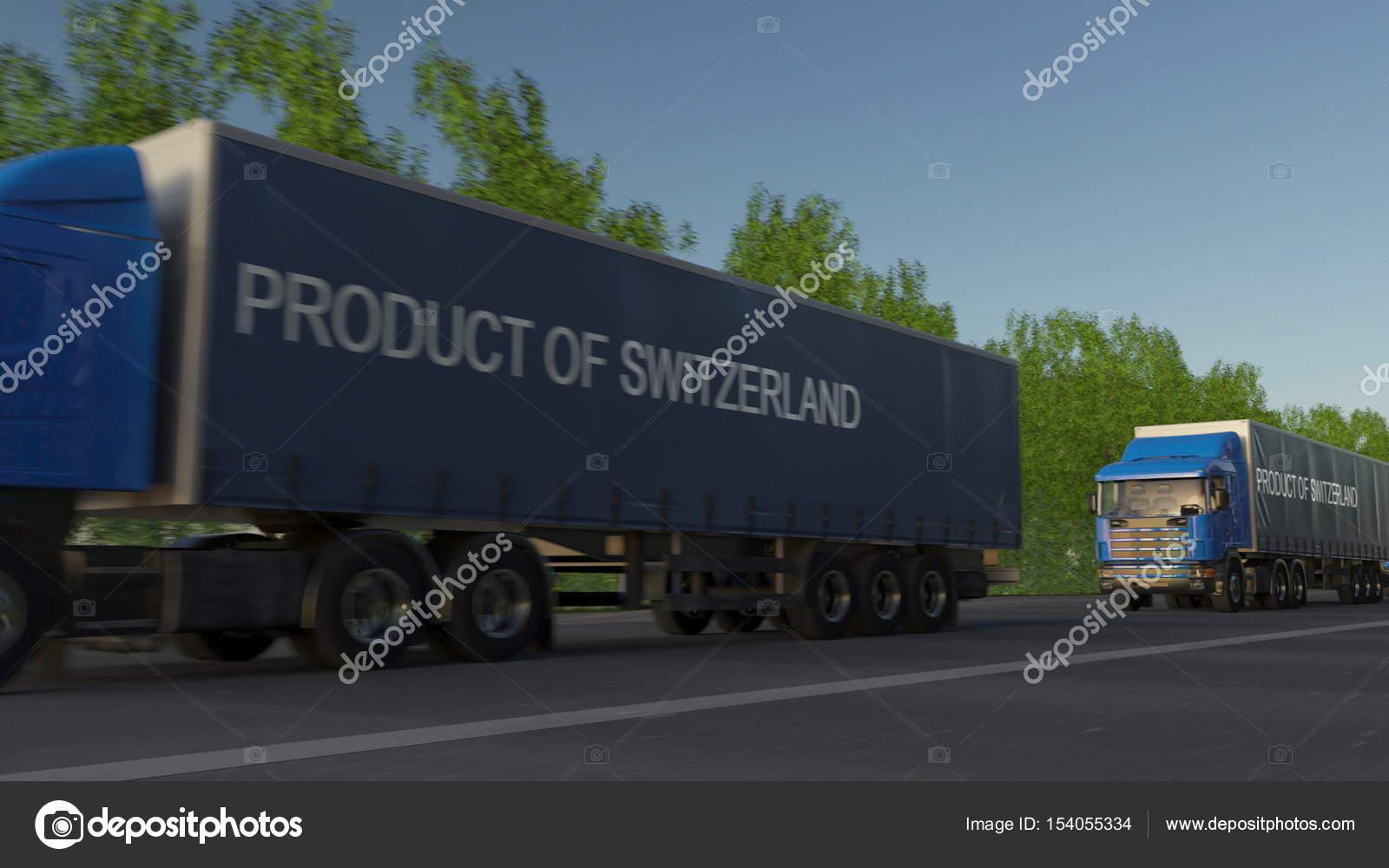 Mobel Fracht Halb Lkw Mit Produkt Der Schweiz Beschriftung Auf Dem