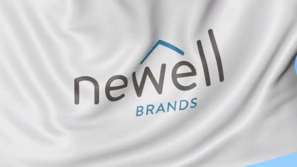 Waving flag with Newell Brands logo. Seamles loop 4K editorial animation