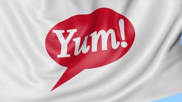 Waving flag with Yum Brands logo. Seamles loop 4K editorial animation