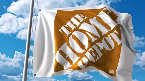 Waving flag with The Home Depot logo against moving clouds  4K editorial  animation