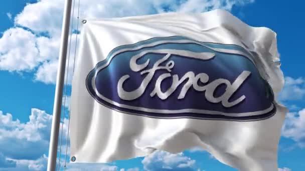 Vlající vlajka s logem Ford proti pohybu mraků. 4 k redakční animace