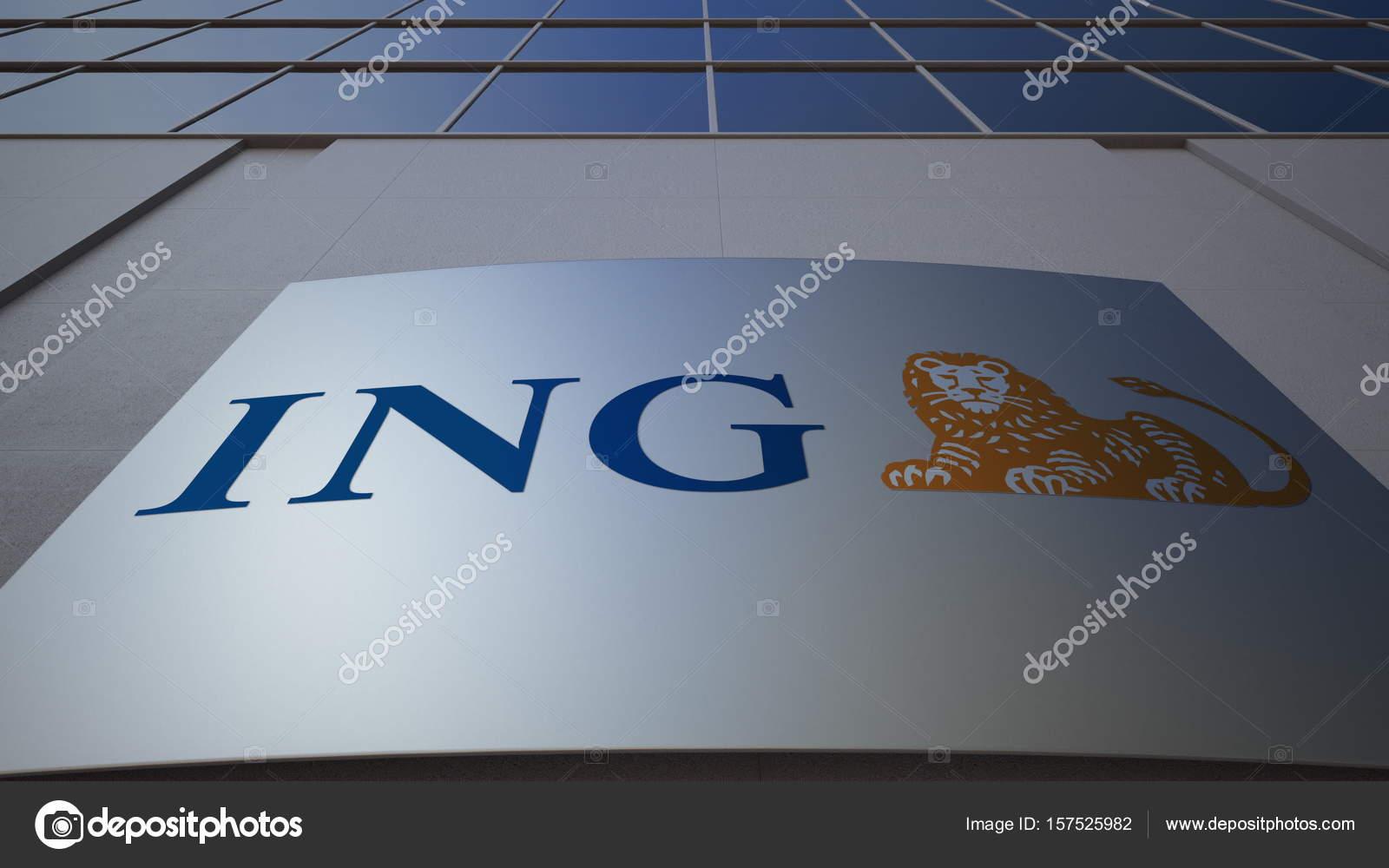 Ing グループのロゴマークと屋外...