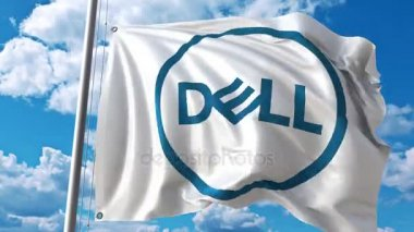 Waving flag with Dell logo against moving clouds. 4K editorial animation