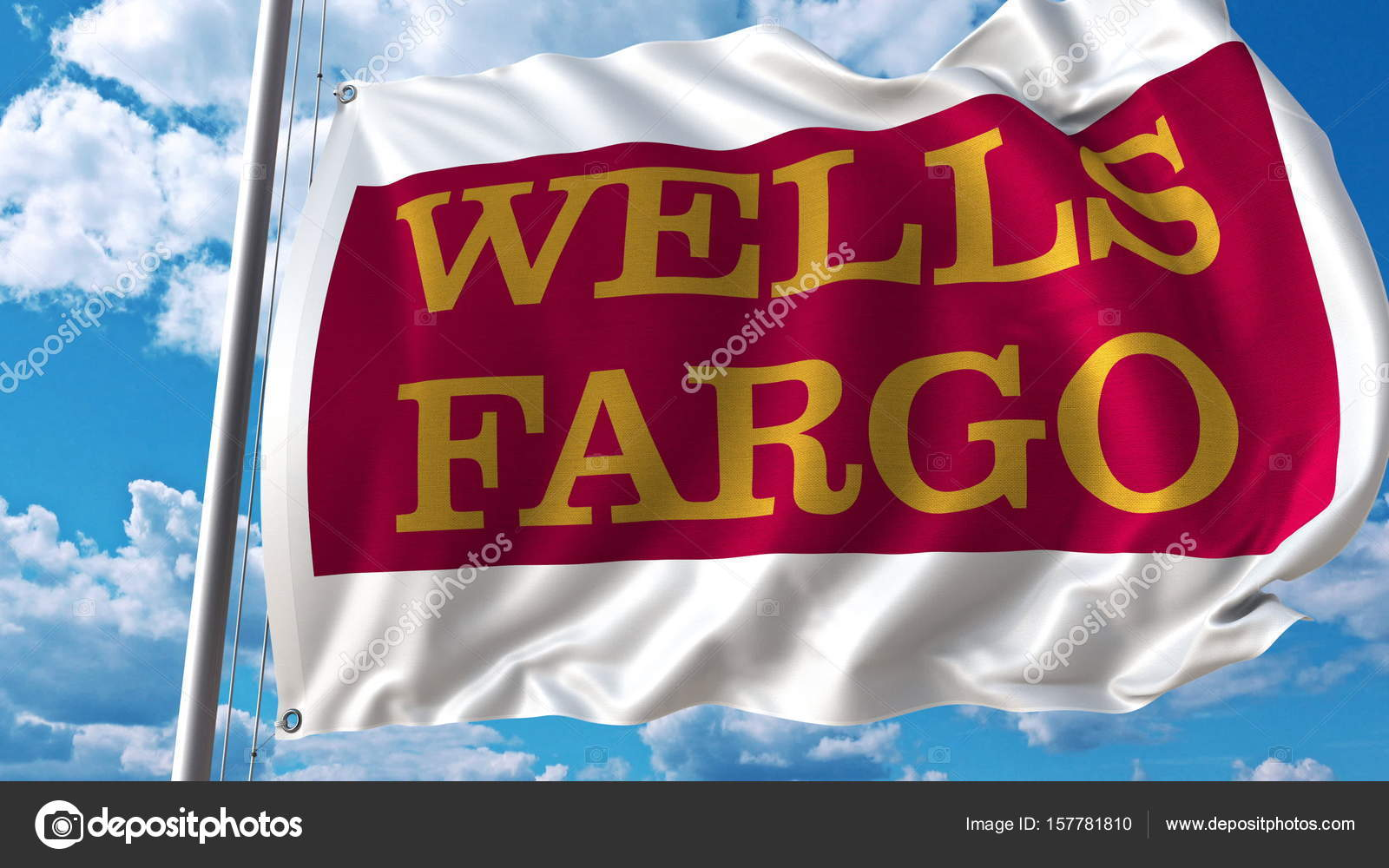 Waving Flag With Wells Fargo Logo Against Sky And Clouds Editorial