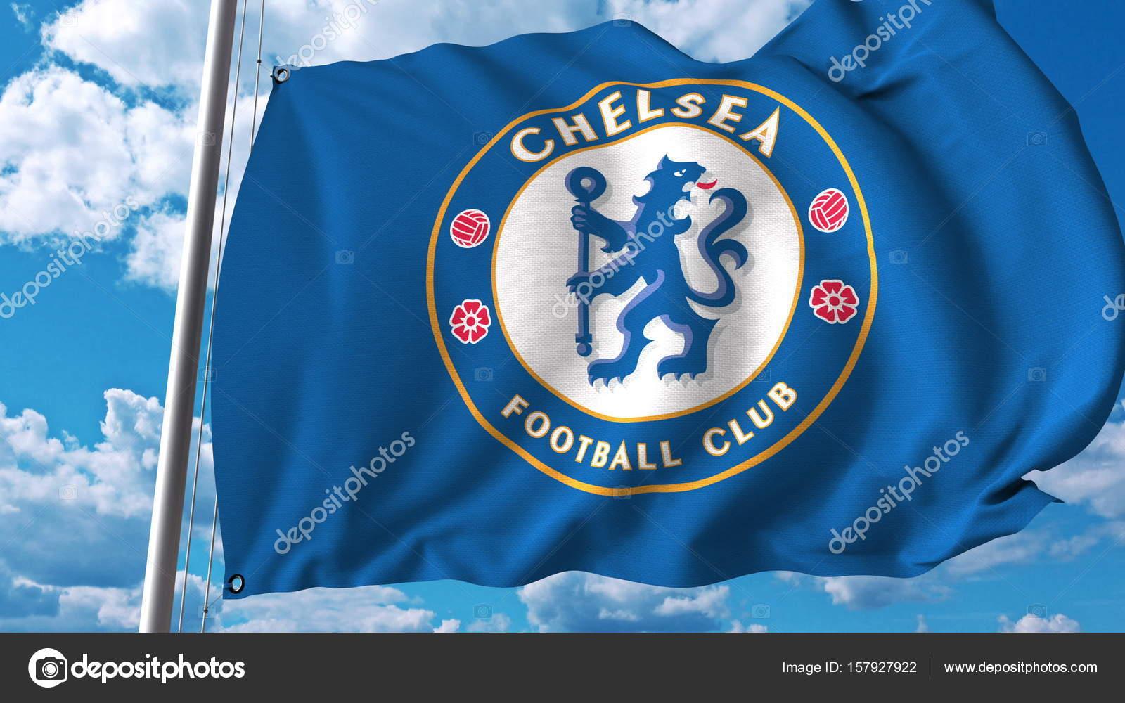 e558f29f38195 Agitando a bandeira com o logotipo de time de Futebol Chelsea. Editorial 3d  — Foto de alexeynovikov