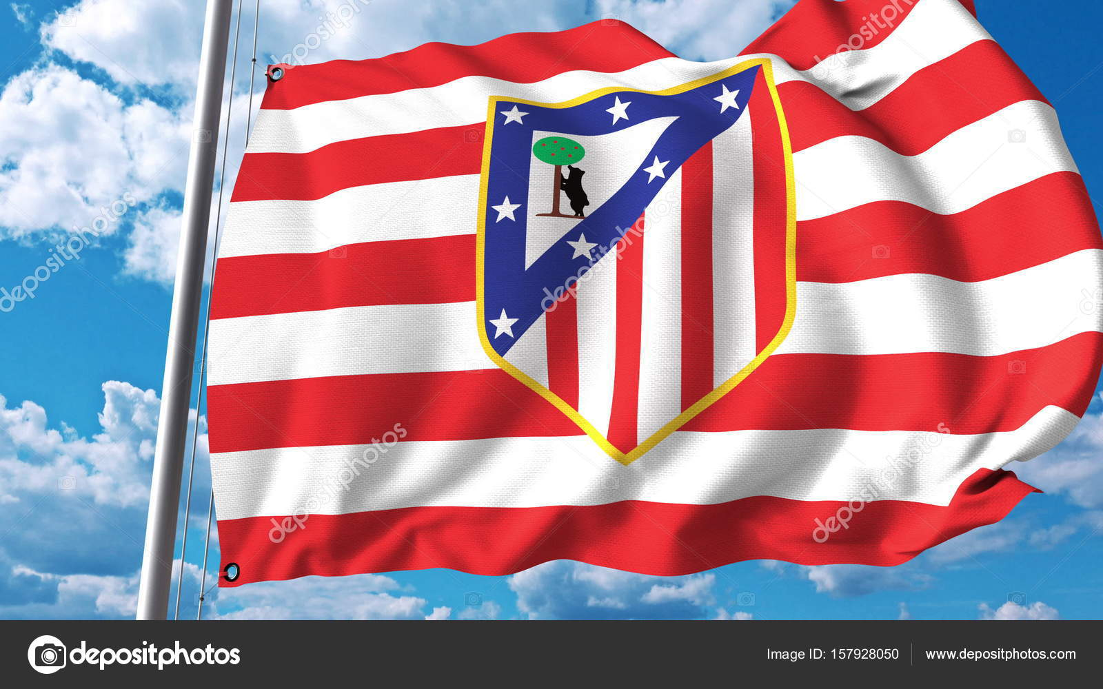 Wehende Flagge Mit Atletico Madrid Fußball Team Logo Redaktion 3d
