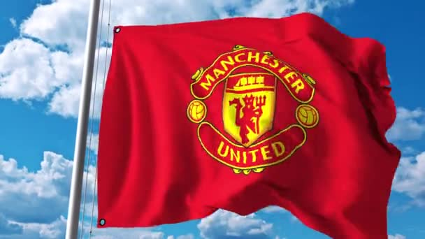 Waving flag with manchester united football team logo 4k editorial waving flag with manchester united football team logo 4k editorial clip stock video voltagebd Image collections
