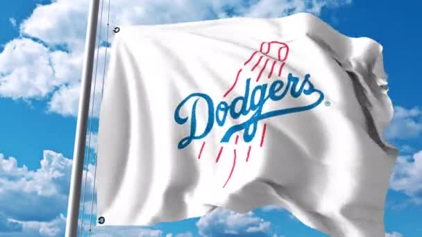Waving Flag With Los Angeles Dodgers Professional Team Logo 4k
