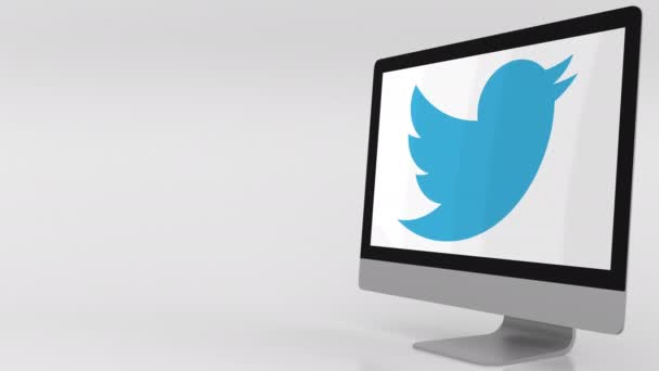Modern computer screen with Twitter logo. 4K editorial clip