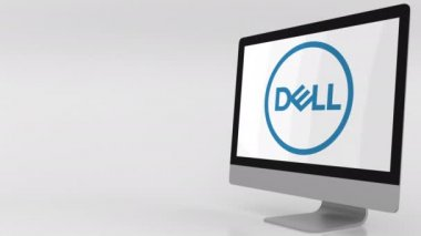 Modern computer screen with Dell logo. 4K editorial clip