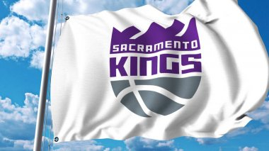 Waving flag with Sacramento Kings professional team logo. Editorial 3D rendering