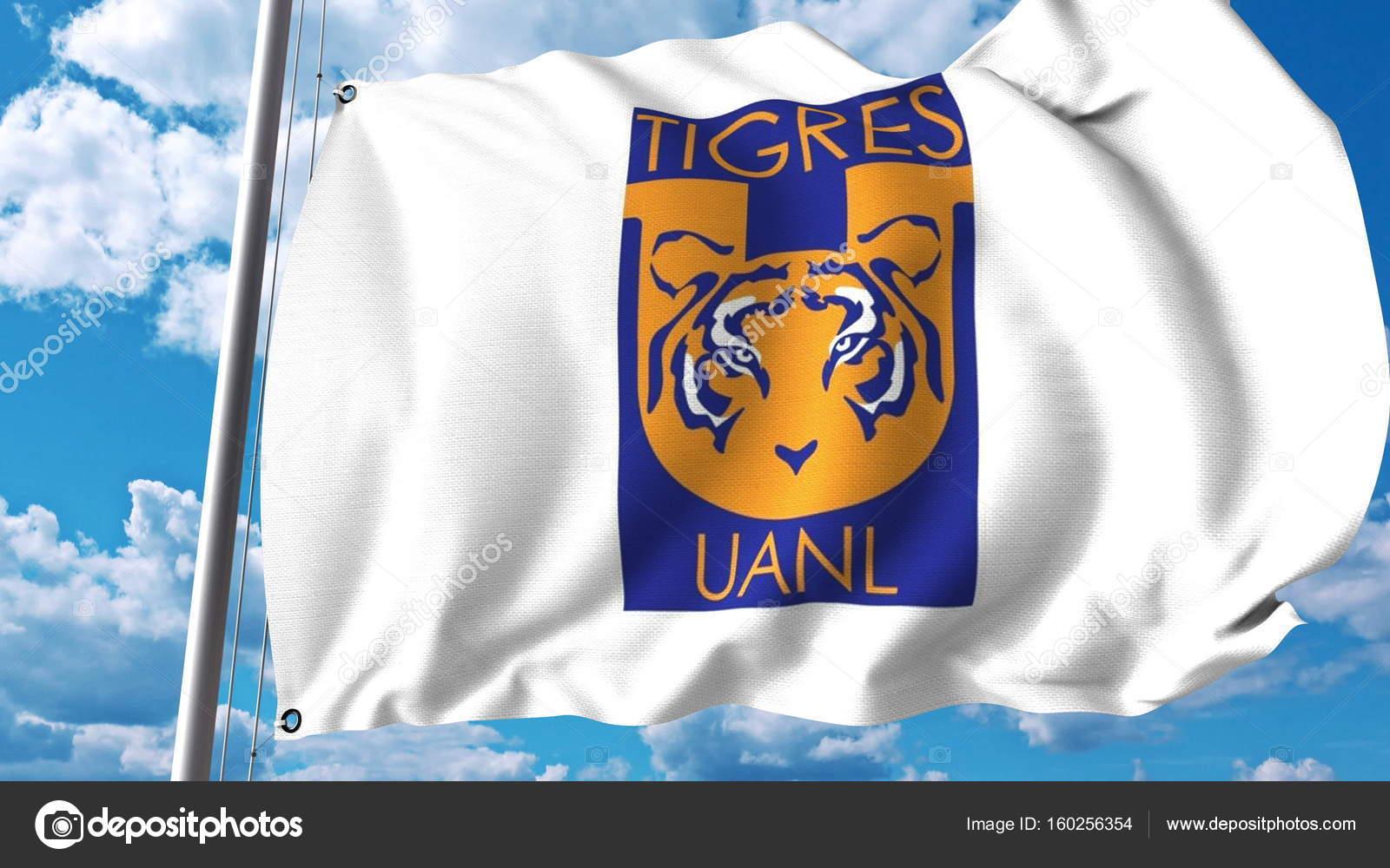 Vector Tigres Uanl Ondeando La Bandera Con La Insignia Del Club